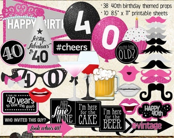Photo Booth Props, HAPPY 40TH BIRTHDAY, printable sheets, instant download, hot pink, black, silver