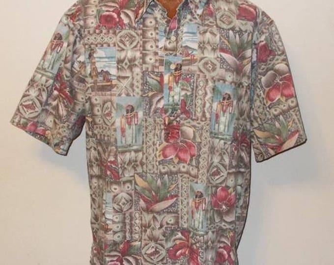 1995 Mele Kalikimaka Reyn Spooner Limited Issue Christmas Cotton Blend Short Sleeve Mens Hawaiian Shirt Size 2XL