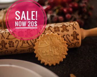 CHRISTMAS GIFTS theme rolling pin, embossing rolling pin, engraved rolling pin by laser