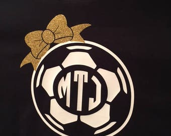 Soccer Ball with Bow and Monogram