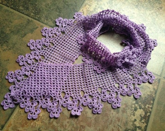 cowl lavender color flower design handmade crochet lace scarf
