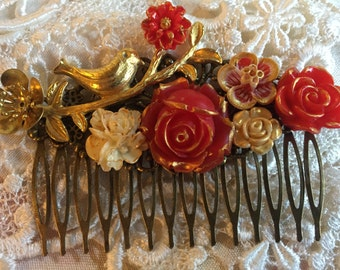 Filigree Wedding Comb Red & Ivory Flowers with Metallic Gold Accent Flower Gold Plated Bird on Branch with leaves Clearnace Sale