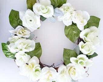 Floral Wreath - Everyday Wreath - Rose Wreath - White Wreath - Gift for Her - Door Wreath - Wreath - Wreaths - Front Door Wreath