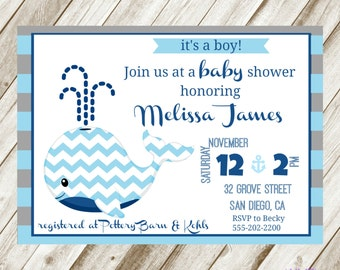 Whale Baby Shower Invite- Baby Boy invite- Chevron Whale