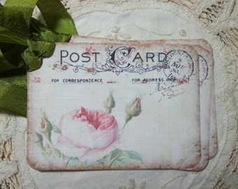 FOUR Vintage Cabbage Roses Postcard Hang tags / gift tags