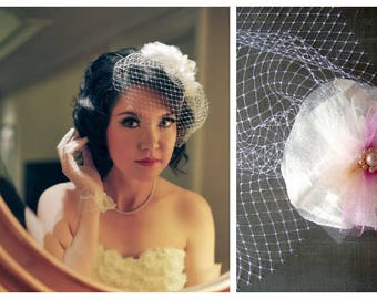 Birdcage Headpiece Vintage Bride, Organza Flower, Accessory for Hair, Birdcage Veil with Flower, Fashion Accessory, Birdcage Veil Flower