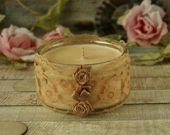 Soy wax candle, lace decor, cream candle holder, boho gift, home decoration, hand poured candles, boho decor, lace gift, candles handmade