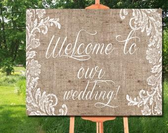 Welcome Sign Printable, Wedding Welcome Burlap Sign, Wedding Printable, Rustic Wedding Sign, Welcome Poster, Wedding Sign Printable