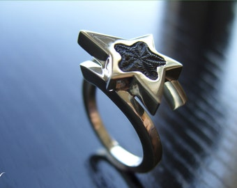 "Star Ring Fossil ""Saint-Vincent"" Sterling Silver 925"