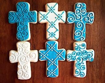 One Dozen - Baptism Cross Cookie - Christening Party Favor - Religious Cross - Holy Communion Cross