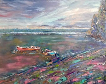 Abstract pink, abstract landscape, abstract sky painting, crazy sky, blue painting, iceland painting, boat painting, abstract ocean painting