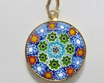 Boxed Antica Murrina Veneziana Murano Millefiori Art Glass Vermeil Pendant Gold Plated Sterling Silver Vintage Pendant Made In Italy
