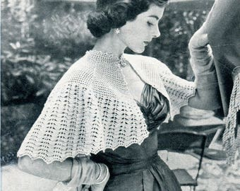1950's Afternoon Capelet Crochet Pattern PDF Instant Download