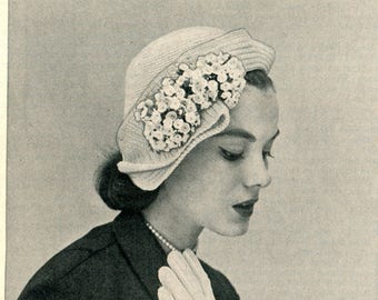 1950's Mid Century Lady's Cloche Crochet Pattern PDF Instant Download