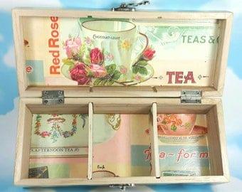 Personalised Tea Caddy, Tea Box, Wedding Gift, Decoupage Tea Box, Tea Storage, Decoupage Box, Tea Lover Christmas, incs 20 Tea bags