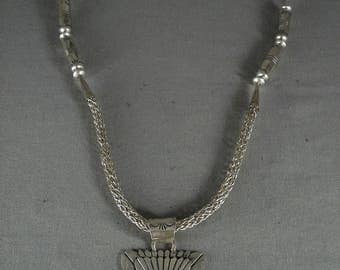 Museum Vintage Navajo 'Tubes Of Silver' Turquoise Necklace