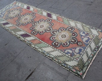 "Vintage Turkish Oushak Runner, Anatolian Handmade Hallway Wool Turkish Red Blue Runner Rug, Red Oushak Wool  Rug Runner 275x90cm,110""x36"""