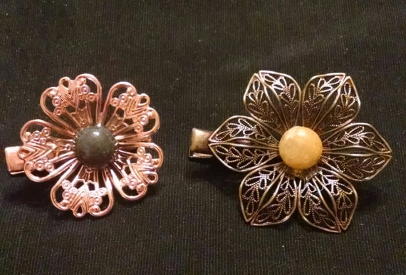 COUNTRY BLOSSOMS Exquisite set of two tichel clips with genuine stones, tichel pins, scarf clips, hair clips, hair jewelry