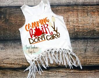 FREE SHIPPINGCamping Hair Dont Care Girls Fringe Racerback Tank