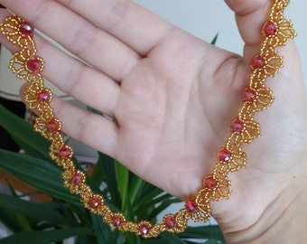Beaded necklace, Yellow and Red necklace, Gold necklace, Beaded jewelry, Gift for her
