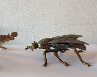 Ashtray fly 70s, old, art deco, sculpture, form insect, brass, original, article smoker/Fly ashtray, vintage french