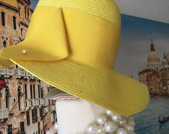 "Vintage Hat Yellow Straw ""Betmar of New York and Paris"" Size 7-7 1/8"