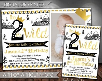 In Two the Wild Birthday Invitation, Tribal Birthday Invitation, Teepee Birthday Invitation, Black and Gold, Boy, 2nd, In Two the Wild #614