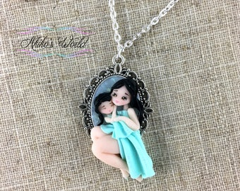 Mother and daughter blue chibi necklace on a silver cameo - Mother's day gift -Stainless silver chain - Polymer clay pendant