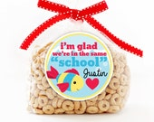 Personalized Stickers, I'm Glad We're in the Same School, School Fish, Circle Stickers, School Gift, Classmate Gift Stickers, Party Favor