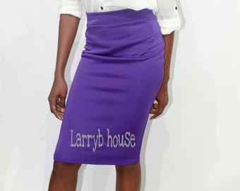 Purple pencil skirt.