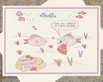 Romance Card, Funny Love Card, Funny Valentine Card, Valentine Card, Cute Valentine Card, Happy Valentines Day, Fish Card, Valentines Day