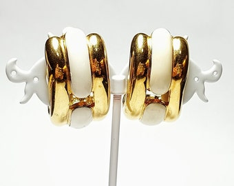 Givenchy Vintage Gold And White Tone Half Hoop Clip Earrings/Haute Couture Statement Earrings/1980's Vintage/Designer Givenchy Jewelry/