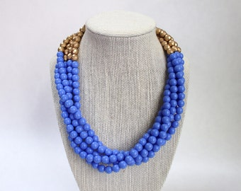 Blue and Gold Beaded Necklace, Multi Strand Beaded Necklace, Blue and Gold Statement Necklace, Blue Chunky Beaded Necklace, Blue Necklace