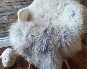 Luxury Unique Gotland Throw|Large Gotland Sheepskin Rug|Curly  Swedish Natural Sheepskin #3043
