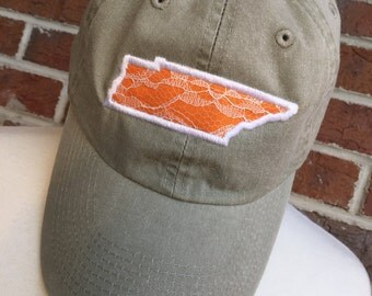 Tennessee Hat - Tennessee Vols - Womens Hat - Baseball Hat - Tennessee - Monogram - Tennessee State Hat - Vintage Hat - Distressed Hat - Cap