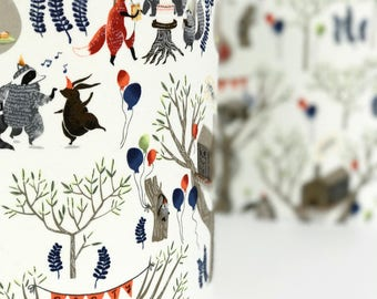 Woodland Party Lampshade, Children's Bedroom Lampshade, Nursery Lampshade, Children's Lampshade, Woodland Animals, Animal Lampshade