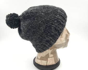 Fitted Beanie, Pom Pom Beanie, Charcoal Beanie, Grey Beanie, Winter Hat, Hat for Women, Hat for Men, Acrylic Hat, Wool Hat, Hat with Pom Pom