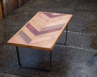 Recycled chevron hardwood coffee table