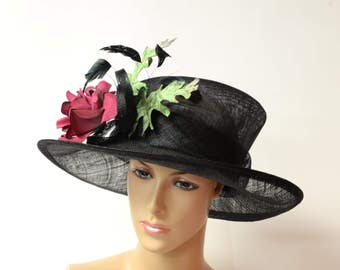 black/rose flowers/green leaves Sinamay Hat, Elegant Kentucky Derby Hat, Wedding Hat, Church Hat, Easter,Prom, Formal Hat, Dressy Hat