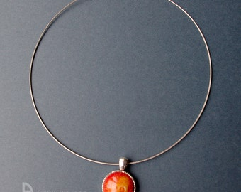Necklace hot, porcelain, chili, 50 cm silver 925/version antique silver with cat