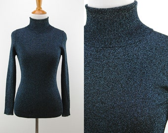 70s/80s Black and Blue Sparkle Turtleneck - Stretchy Sparkle Sweater - Size XS Small