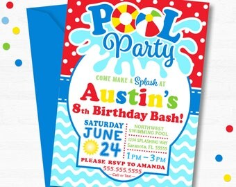 Pool Birthday Party Invitation, Pool Party Invitation, Swimming Party, Pool Party, Girl's Pool Party, Boy's Pool Party, Pool Party Printable