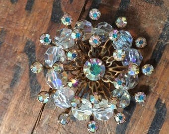 Clear Crystal & Beaded Brooch / Vintage