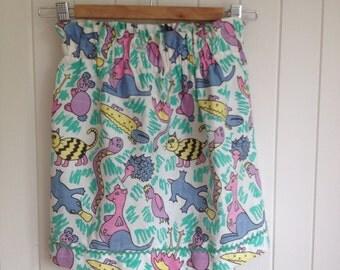 Girls Cartoon Summer Beach Skirt with Australian Animals - Platypus, Koala, Cockatoo, Snake