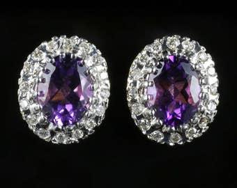 Amethyst Diamond Cluster Earrings 9ct Gold