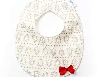 "Couple bib ""Golden Christmas"" + headband"