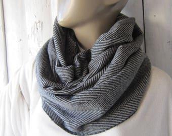 Black And Grey Men Herringbone Scarf/ Men Scarf,  Mens scarf, Grey scarf, Men infinity scarf, Men fashion,Men Scarves