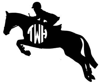 Hunter Jumper Monogram Decal - SOLID COLORS
