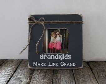 Grandkids Make Life Grand, Grandparents Picture Frame, Grandkids Photo Frame, Rustic Photo Frame