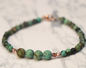 Beaded Bracelet With African Turquoise Stone Beads - Gemstone Bracelet, Rustic Bracelet, Every day Elegant Turquoise Stone Bracelet